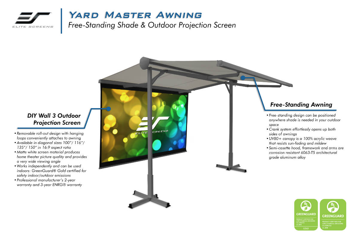 Elite Screens Awning Doubles as a Projector Screen for