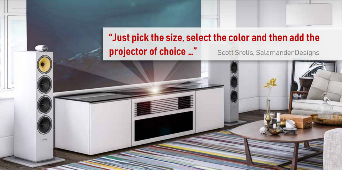 4ab9b4da9e35ef SI and Salamander: Beautiful Furniture, Specialty Screens Make Short-Throw  Projectors Sexy