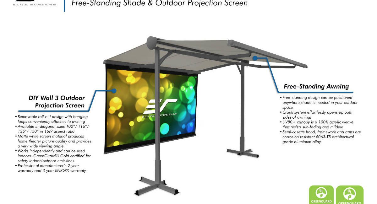 Elite Screens Awning Doubles as a Projector Screen for Outdoor Entertaining