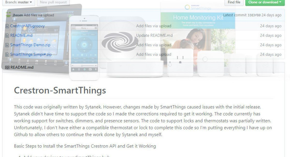 Integrate Crestron with SmartThings, Including ZigBee, Z-Wave: Free Github Code