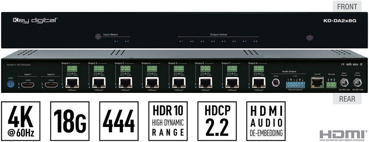 Key Digital KD-DA2 HDBaseT Amplifiers Deliver 18Gbps for 4K Video