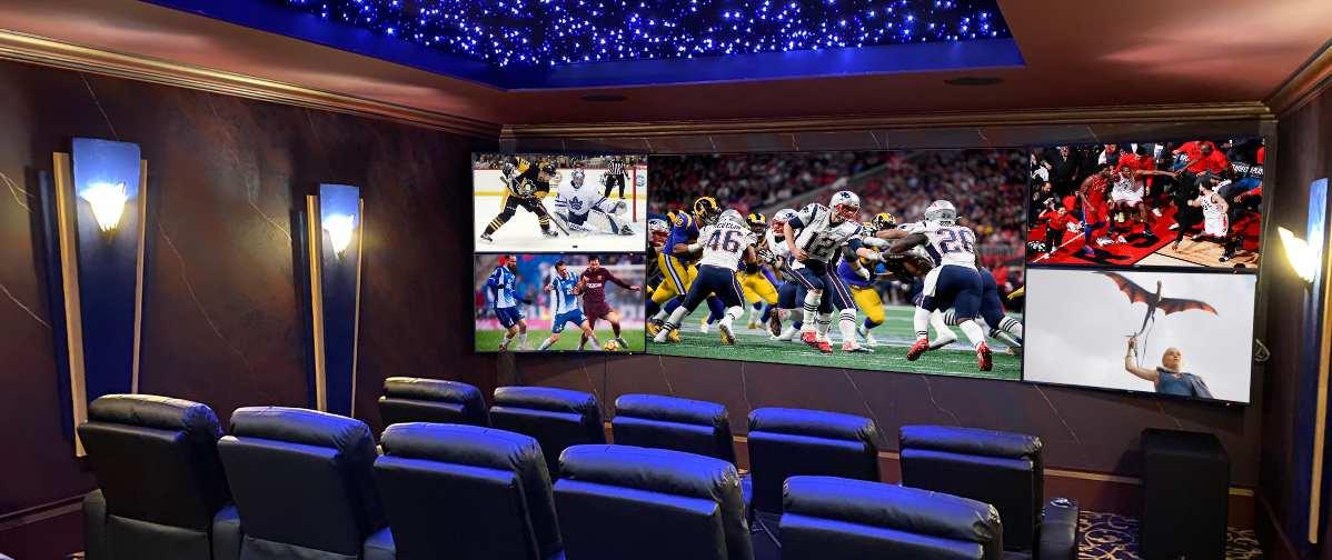 Stunning 5-Screen Home Theater Designed for Sports, Batman Fanatic