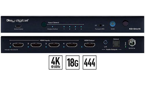 Key Digital KD-S4x1X 4K/18G HDMI switcher