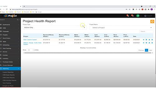 ProjX360 Project Health Report Dashboard