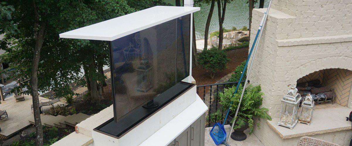 "Motorized Lift Helps N.C. Installer Hide 75"" Outdoor TV in Custom Fashion"